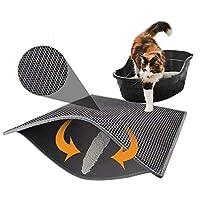 FidgetGear 防水二層猫のトイレ砂マットペット子猫トラッパー汚れキャッチャーパッド グレー