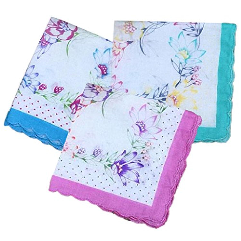 Dovewill 女性 綿混紡 花柄 ファブリック ハンカチ ポケットチーフ 手触りが良い エレガント ギフト 全5スタイル