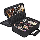 Ballage Large Travel Makeup Bag (3-Tier) with Adjustable Dividers, Makeup Organizer Bag, Multipurpose Cosmetic Organizer, Large Black Makeup Train Case, Bonus Overnight Pouch
