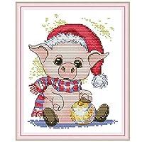 Biuuu かわいい豚 DIY 手作り 針仕事 カウント14CT プリントクロスステッチ 家の装飾