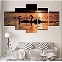 Xbwy アートワークポスターHdプリント家の装飾5ピース動物壁アート白鳥モジュラーキッズルーム写真フレームワークキャンバス絵画-20X35Cmx2,20X45Cmx2,20X55Cmx1