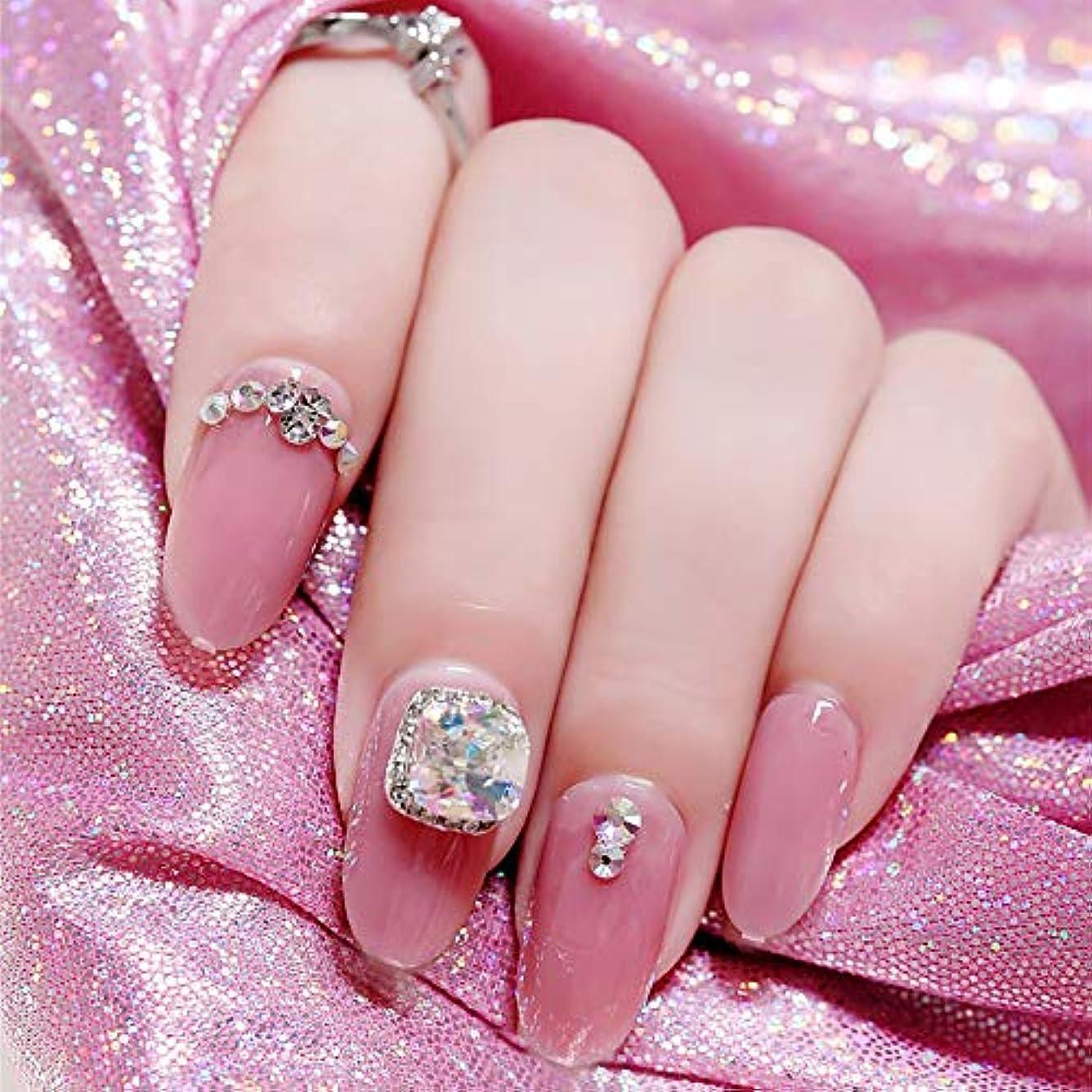 広い福祉傷跡SIFASHION 3D 可愛い優雅 手作りネイルチップ ネイル花嫁 24pcs ピンク ネイルチップ