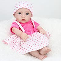 NPKDOLLリボーンベビードールハードシリコーンビニール11インチ 28センチメートル防水玩具ストラップホワイトドレスピンクガール 人形 Reborn Baby Doll A1JP