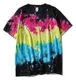 (ピゾフ) Pizoff メンズ Tシャツ 半袖 タイダイ柄 ムラ染め 個性 ヒップホップ B系 お揃いAC073-06-XL