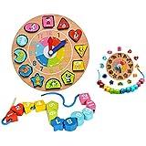 Itian 木のおもちゃ 時計積木 時計遊び クロック 積み木 形合わせ はめ込み ブロック パズル 幾何認識 数字認識 図形勉強 知育玩具