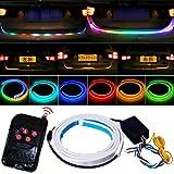 シーケンシャル 流れるウインカー 120cm led カラフル テープ ライト RGB 5050 12V led リモートコントロール テールライト 多機能 赤ブレー キライト警告灯車 ホワイト逆ランプ アンバー デュアルフラッシュランプ 防水 汎用