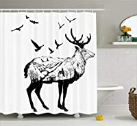 Ambesonne Deer Shower Curtain Set, Mountain and Cottage Scenery in Hand Drawn Animal Flying Birds Countryside Wildlife Themed, Fabric Bathroom Decor with Hooks, 75 Inches Long, Black White [並行輸入品]