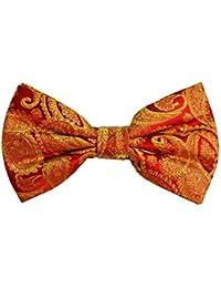 ポール?マローンシルク蝶ネクタイ。赤とゴールド