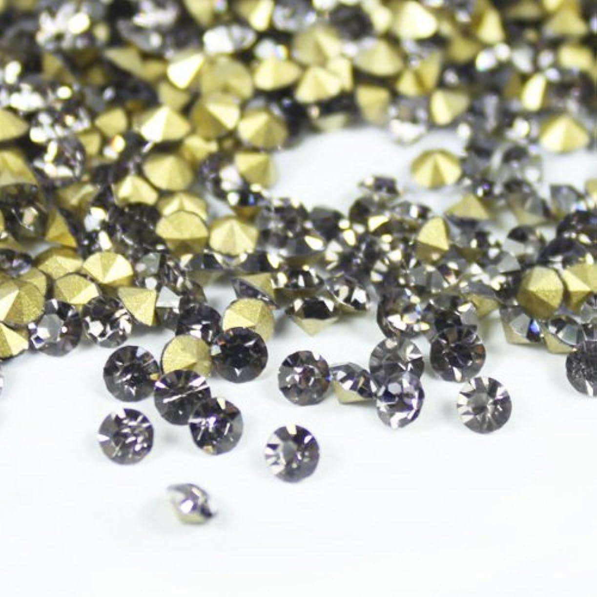 カリキュラムパスタ敵対的ガラス製 Vカットストーン(埋込型)black diamond/ブラックダイアモンド 各サイズ選択可能 (4.0mm (SS16) 約1440粒) [並行輸入品]