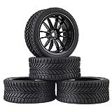 Mxfans 4個入れ RC1:10オンロードカーのため ブラック プラスチック製 12スポークホイールリム & ラバー Single-oriented タイヤ