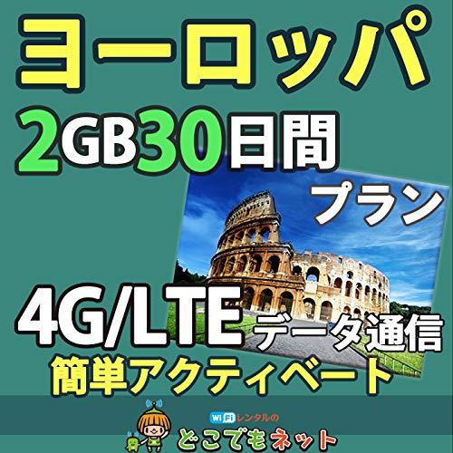 お急ぎ便ヨーロッパ 周遊 プリペイド SIMカード 4G データ 通信 (小容量(2GB/30日))