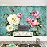 Hxcok ヨーロッパスタイル3Dステレオ花写真壁画壁紙リビングルームテレビソファ結婚式の家の背景壁画3D家の装飾-350X250CM