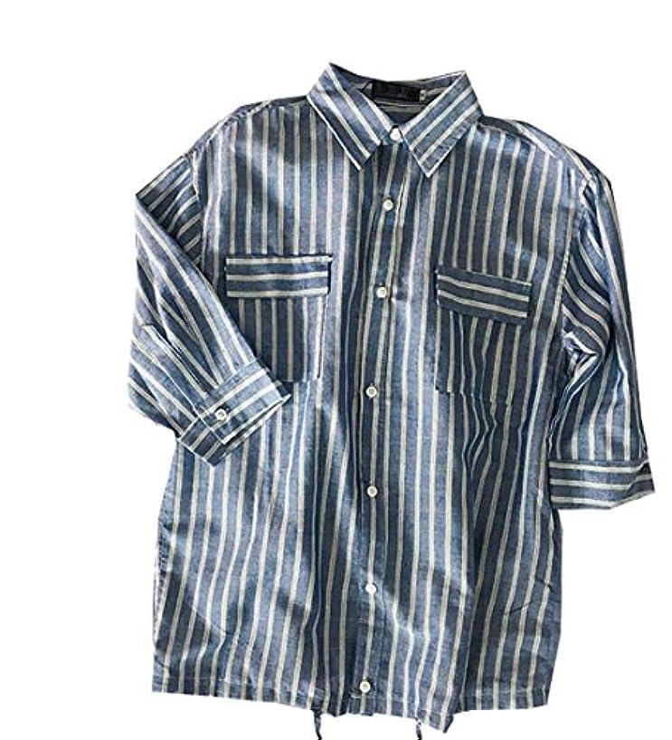 動物園忠実才能のあるPuHao (プハオ) 五分袖シャツ 襟付き ポケット付き ストライプシャツ ストレッチ オックス スリム シャツ メンズ ボタンダウン ワイドカラー 無地