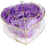 Baosity 6個 ソープフラワー 石鹸の花 バラ 薔薇の花 ロマンチック 心の形 ギフトボックス 誕生日 プレゼント 全5仕様選べる - 紫