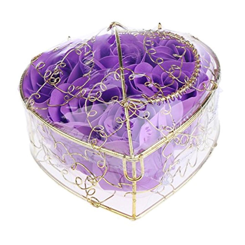 予測子シリンダー最も遠いBaosity 6個 ソープフラワー 石鹸の花 バラ 薔薇の花 ロマンチック 心の形 ギフトボックス 誕生日 プレゼント 全5仕様選べる - 紫