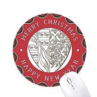 ブラック・ホワイトライオンのイラスト芸術シールドパターン 円形滑りゴムのクリスマスマウスパッド