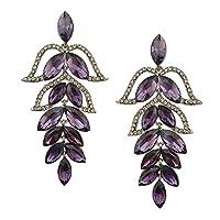 Perfk ファッション 女性 クリスタル 葉 耳スタッド 結婚式 パーティー 全6色 - 紫