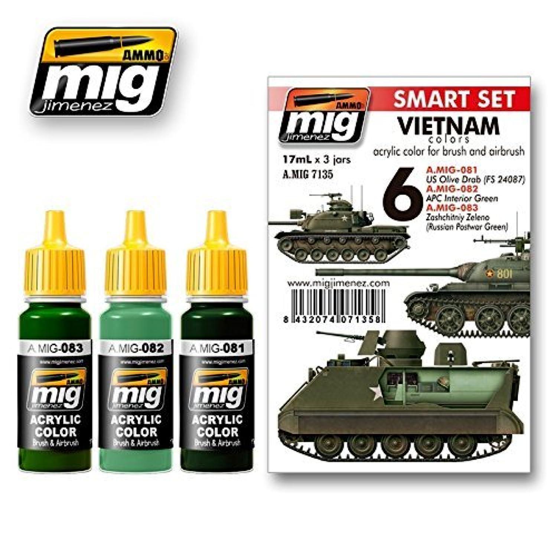 Ammo of Mig VIETNAM colours SET Acrylic Colours 3 Jars 17ml 7135
