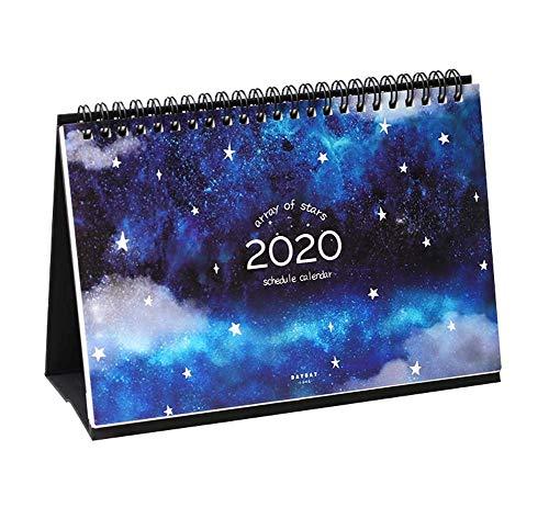 1個2019-2020卓上カレンダー毎月プランナー(2019年7月から2020年12月)、明るい星