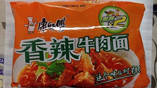 中華インスタントラーメン 辛口焼き牛肉入り 92g×5セット  (康師傅香辣牛肉麺) 即食方便面康师傅香辣牛肉面