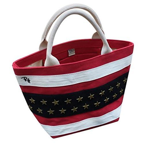 Ron Herman ロンハーマン レディース ハンドルバッグ トートバッグ ランチバッグ ショッピングバッグ コーディネート 星柄 星条旗  刺繍 アメリカ 国旗 星 (ホワイト)