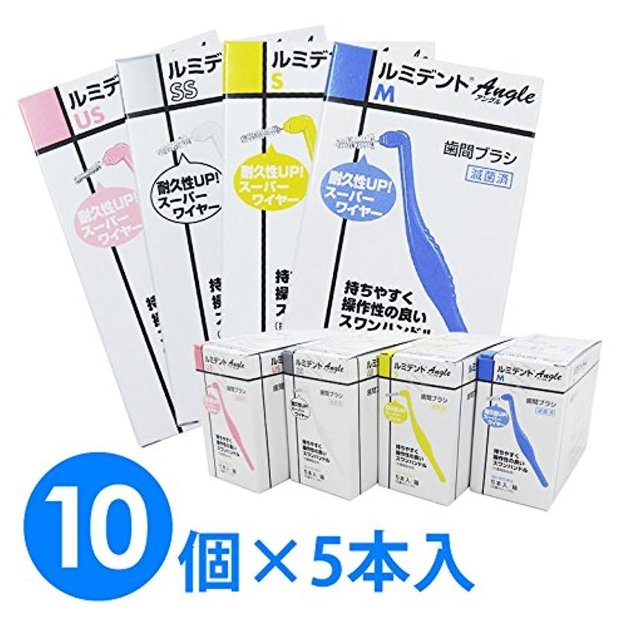 暫定無一文抵当【10個1箱】ヘレウス ルミデント アングル 歯間ブラシ 5本入り×10個 (M ブルー)