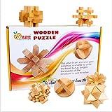 やさしい 天然 木製 立体 パズル 3D ブロック 6種 セット 展開 解説図 付き 知恵の輪 知的 玩具 脳トレ 頭の体操 孔明パズル (難易度 いろいろ)