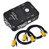 【ieGeek】2ポートUSB2.0 KVM VGAスイッチボックス切替機 小型パソコン切り替え器2port キーボード・マウス用パソコン切替器