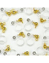 ノンホールピアス 樹脂 パーツ カン付き 横カン 縦カン 丸玉 ゴールド アレルギー対応 イヤリング 10ペア20個