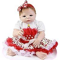 Lifelike 23インチフルSiliconeビニールRebornベビー人形Dressedチェリースカートファッション赤ちゃん人形女の子誕生日プレゼント