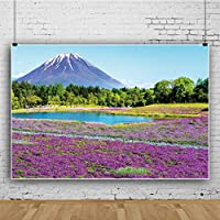 Qinunipoto 背景布 写真撮影用 背景 撮影 写真の背景 ポリエステル 洗濯可 富士山 紫色のラベンダーの背景 穏やかな湖 緑の森の背景 春の風景 自然の風景の背景 結婚式の背景 誕生日 人物撮影 2.1x1.5m