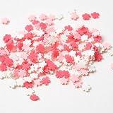 紗や工房 アクセサリーパーツ ハンドメイド レジン パーツ 封入 素材 ポリマークレイ チップ 桜 約5x5mm 赤ピンク白 約3g 埋め込み ネイル サクラ デコ