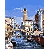 CaptainCrafts 新しい DIY 数字油絵 キット大人のための40 x 50 cmの絵画 初心者の子供たち - ヴェネツィア水都市 (フレーム付き)