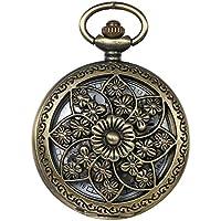JewelryWe Retro Bronze Flower Openwork Cover Quartz Pocket Watch with 32.3 Inch Chain