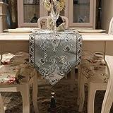 3D刺繍 テーブルランナー ホームデコレーション 北欧 おしゃれ 長方形 エレガント モダン シンプル (Color : Gray, Size : 32*160cm)