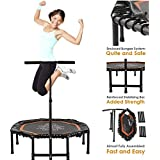 "Xspec 44"" Silent Fitness Mini Trampoline with Adjustable Handrail Bar – Indoor Rebounder for Adults – Best Cardio Jump Fitness Low Impact Workout Trainer, Covered Bungee Rope System"