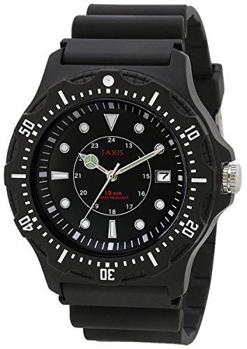 [ジェイアクシス]J-AXIS 腕時計 10気圧防水 日付表示 見やすい文字盤 軽い NAG51-BK メンズ