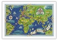 グローバルエアネットワーク - ルート世界地図を飛びます - エールフランス星座早見表 - ビンテージな航空会社のポスター によって作成された ルシアン・ブーシェ c.1950 - 美しいポスターアート