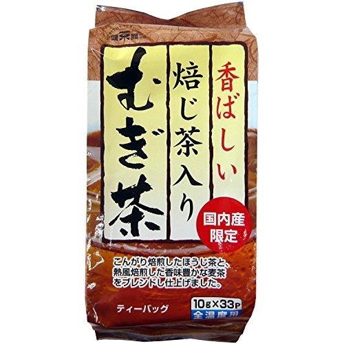 健茶館 国内産焙じ茶入りむぎ茶33P 330g