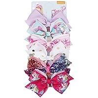 6pcs/Card 5Inch Girls JOJO Siwa Large Hair Bows Children Rainbow Unicorn Hair Clips