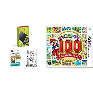 【液晶保護フィルム付き (抗菌タイプ) 】Newニンテンドー2DS LL ブラック×ライム+New 2DS LL / New3DS / LL対応 USB充電ケーブル + マリオパーティ100 ミニゲームコレクション(Nintendo 3DS対応) セット