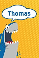"Thomas: Personalized Shark Handwriting Practice Paper for Kids notebook 120 pages 6""x9"""
