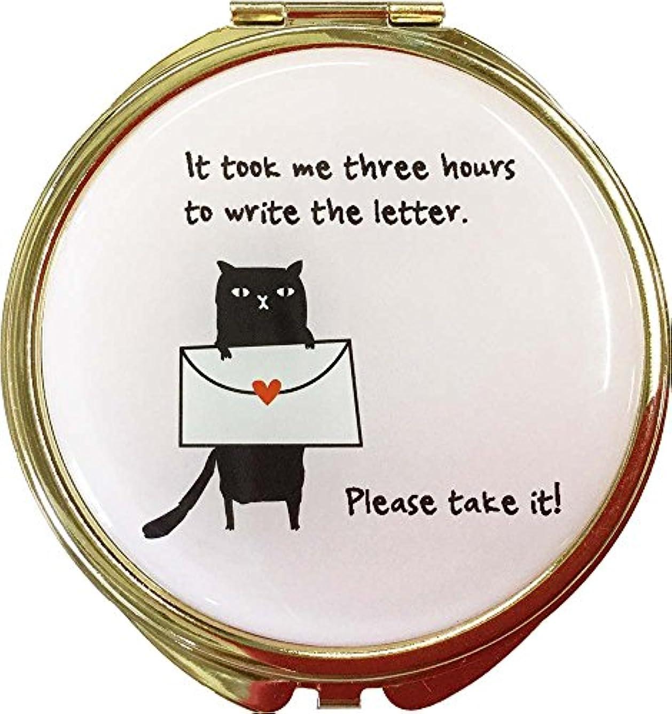 フォルダ第三競合他社選手コージカンパニー コンパクトミラー 折りたたみ式 猫だらけ 拡大鏡付き 直径7.5cm レター ピンク 184482