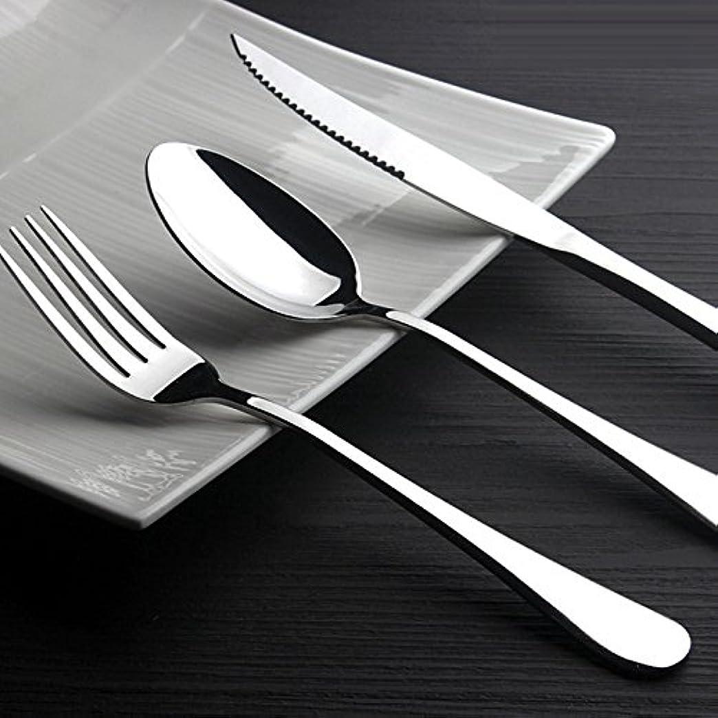 スワップ時間刺すRaiFu 食器セット ステンレスカトラリーナイフフォークスプーン食卓用食器セット付き洋食器 尖った大きな歯3ピースセット* 8セット