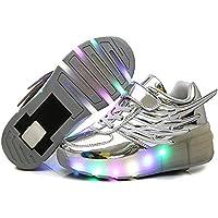BY0NE Boys Girls Flashing Wings LED Light up Single Wheel Roller Skate Shoes