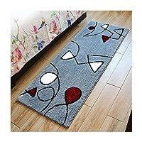 室内のカーペットのドアマットの床のマット、滑り止めの耐久力のある塵の取り外しのきれいになること容易な吸水性、ベッドサイドの台所マットのカーペットの毛布,H,60*140cm