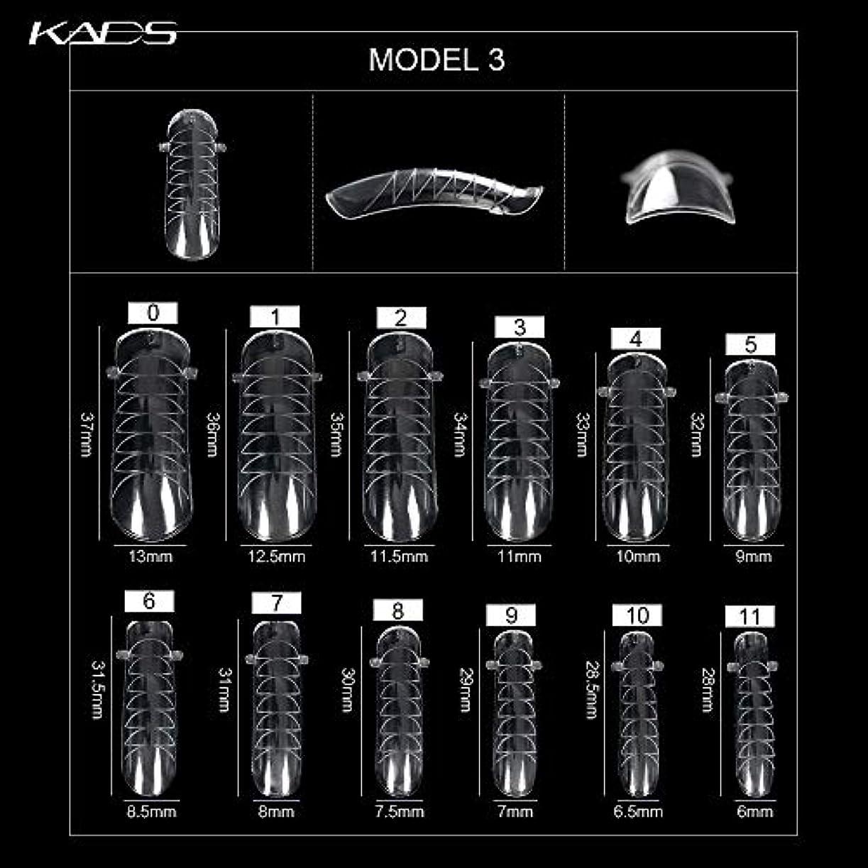 資金満足できる系統的KADS ネイルチップ 12サイズ/10PCS デュアルネイルフォーム UVジェルアクリルネイルアート 無地 透明 (サイズ3)