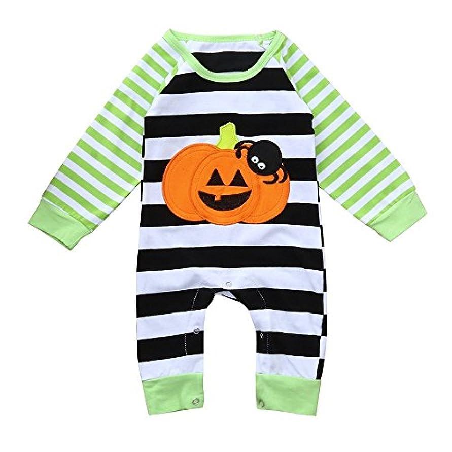 ビーム主権者割り当てますBHKK 子供 幼児少女ボーイズスパイダーカボチャロンパーハロウィンの装飾衣装 3ヶ月 -12ヶ月 3ヶ月