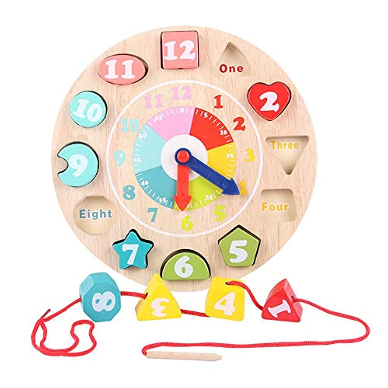 せっかち実用的モーテル積み木玩具 子供のための大規模なレーシングビーズセット、ビーズストリンギング幼児のための教育弦の張りソート時計 積み木 (色 : Multi-colored, Size : 23.5x23.5cm)