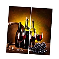 SunniMix 3D デジタル印刷 遮光カーテン 窓カーテン パネル 家庭用品 窓 装飾 全18デザイン選べる - レッドワイン